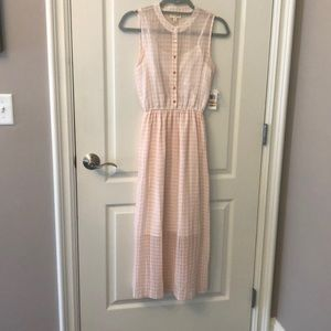 Maison Jules pink abs cream checked dress